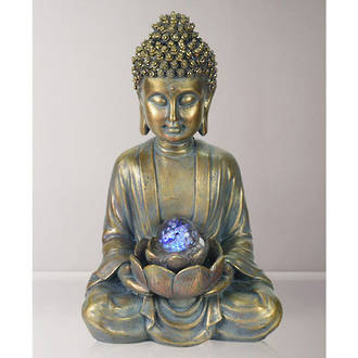 Gold Buddha with Spinning Ball Tabletop Water Fountain