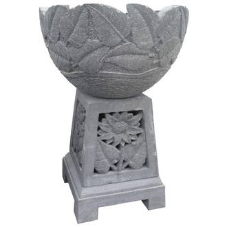 Round Bowl with Square Carved Pedestal